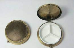 Wholesale 10PCS Pill Box DIY Metal Pill Organizer Travel Pill Case Copper Color