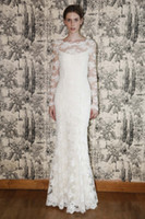 Wholesale Sexy designer mermaid wedding dress floor length white lace long sleeve wedding gowns bridal gowns