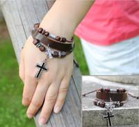 Charm Bracelets Celtic Unisex Free Shipping Leather Wrap Bracelets With Alloy Cross Pendant Wooden Beads Adjustable Vintage Bracelets Retro Bangles Cow Leather Brown