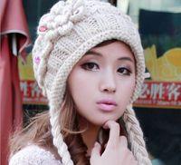 Wholesale The new lovely hat knitting hat female qiu dong han edition flowers warm earmuffs twist braid hat fm153