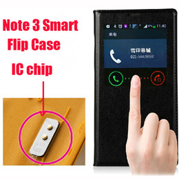 Wholesale Best Official Genuine IC chip Sleep Wake Flip Leather Back Battery Cover Case For Samsung Galaxy Note note3 DUOS N9000 N7505V