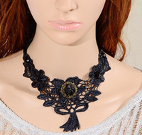 Collar Necklace South American Gift Gothic necklace black lace black rose flower chokers necklaces unique handmade gothic victorian chokers OMT-3283 free shipping