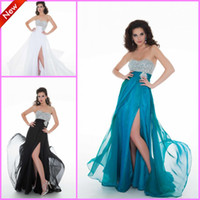 Reference Images Sweetheart Chiffon Fancy Elegant2014Bestselling Crystal Beaded Sweetheart Front-slit Chiffon White Black Peacock Sexy Prom Dresses Evening Christmas Party Gown