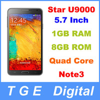 WCDMA French Android Star Ulefone U9000 N9002 Note3 Scale 1:1 Cell Phone MTK6589 Quad Core 5.7 Inch Android 4.3 1G RAM 8G ROM Russian Language Mobile Smartphone
