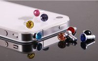 Earphone Jack Plugs   (Mix order) Free Shipping Cell Phone Accessories Phone Jewelry Cute Rhinestone Dust Plug
