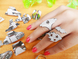 Wholesale Personalized Scrub Ring Jewelry Punk Womens Mens Alloy Plated Silver Couple Rings