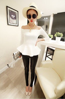 Wholesale Women Sexy Fit and Flare Ruffled Hem Zip Long Sleeves Off Shoulder Top Tee Ladies Blouses