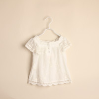 Wholesale Baby girl kids lace shirt tank tops tanks singlet cotton crochet flower floral hollow pajamas PJ S ruffles layers pullover tutu tops