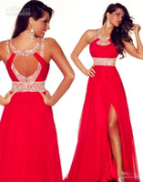Wholesale 2015 Stock formal dress backs A line red high slit across the back bead crew sleeveless floor length Chiffon bridesmaid dresses online