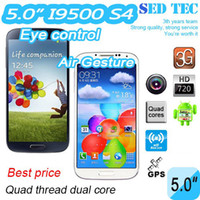 Wholesale S4 i9500 quad core MTK6589 Cell phone promotions air gesture GHz Android Smart phones with inch MP G GPS phone