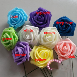 50pcs Dia.7cm Length 25cm Artificial Simulation PE Foam EVA Camellia Rose Wedding Christmas Bridal Flower Several Colors Available