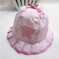 Girl Winter Visor Baby sun hat bucket hats embroidered butterfly cute princess hat children cotton caps