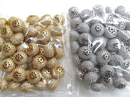 Wholesale AAA grade x10mm pave metal spacer amp cubic zirconia crystal rondelle wheel antique silver gold charm jewelry beads