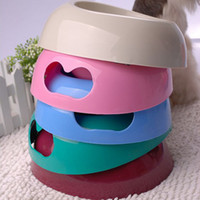 Wholesale Multi colors Heart Pattern Pet Bowl Dog Cat Plastic Food Bowl Pet Tableware CF039