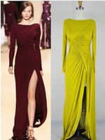 Wholesale 2013 Elie Saab New Sexy Long Sleeves Burgundy Jersey Ruffles Split Floor Length Evening Dresses AE