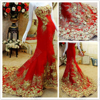 Reference Images Strapless Chiffon Free Shipping Peacock Embroidery Dresses Strapless Mermaid Sexy Long Evening Dress With Gold Applique Chic Party Prom Gowns Red No Sleeve