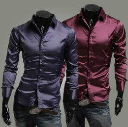 Wholesale NEW Men s casual Slim Long Sleeve Shirts Men s Fashion shine shirt Dress Shirts For Men Business Shirts C54