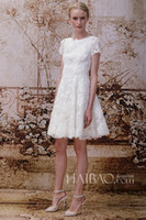 Wholesale 2014 Sexy A Line Wedding Dresses Knee Length Lace Jewel Neck Short Sleeves New York Bridal Fashion Week Monique Lhuillier dhyz
