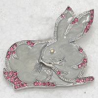 Other african rabbit - C966 J Rose Crystal Rhinestone Enameling Bunny Rabbit Brooch Fashion Costume Brooches Pins Jewelry gift