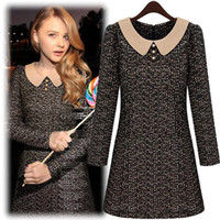 Work Vintage Spring/Autumn European and American women's 2013 fall and winter clothes doll collar hit the color stitching Slim was thin dress solid color skirt