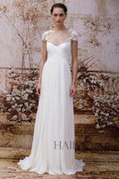 Wholesale 2014 Elegant A Line Bridal Wedding Dresses Cheap Ruched Chiffon Sweetheart Cap Sleeves New York Bridal Fashion Week Monique Lhuillier