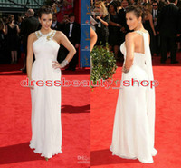 Reference Images Halter Chiffon Kim Kardashian White Sheath Goddess Chiffon Evening Dresses Shiny Crystals Beaded Halter Flowy Train Long Ruched 2014 Cheap Party Gowns Sale