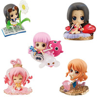 8-11 Years figurines - Retail One Piece Cute Boa Hancock Nami Shirahoshi Perona Robin Figure Figurine set