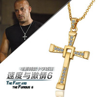 Wholesale HOT High quality K gold plated CZ Austrian crystal stone charm rhinestones Fast and Furious style cross Necklace KN705