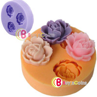 fondant roses - 3D Rose Flowers Fondant Cake Cookie Chocolate Soap Mold Cutter Modelling Tools