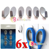 Aluminum   6 Home Kitchen Wall Door Self Adhesive Stainless Steel Stick Holder Hook Hanger [25212|01|01]