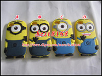 Wholesale For iphone g s D Despicable Me Cartoon soft silicone gel rubber case cases cute smile big eye more minions skin cover