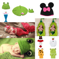 Unisex Summer Newborn Hat Outfit Baby Infants Crochet Knit Beanie Hat Animal Photography Props Costumes Cartoon Caps XDT 0-6Months