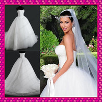 Wholesale Kim Kardashian Inspired Corset and Tulle Ball Gown Wedding Dresses Beaded Sequins Appliques Hem Fashion Beach Bridal Gowns Actual Image
