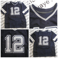 Wholesale Roger Staubach American Football Throwback Elite Jersey Navy Blue Man American Football Stitched Jersey Authentic On Field Jerseys NWT