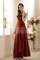 Wholesale 2014 Elegent Grape Sisters Bridesmaid Dress A Line Strapless Sleeveless Tiered Pleats Ankle Length Taffeta Dresses for Brides Gowns