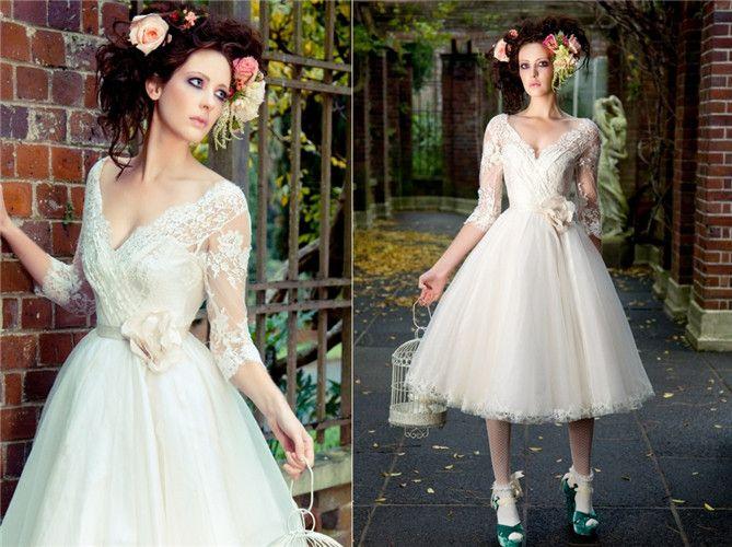 Discount 2014 hot selling v neck a line tea length vintage for Sell vintage wedding dress