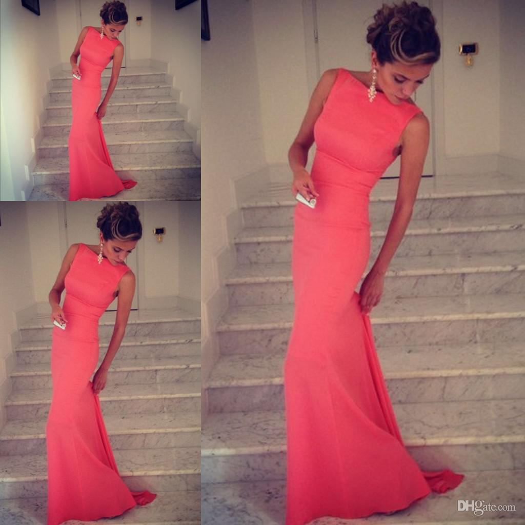 2017 Formfitting Sheath High Neck Formal Long Coral Evening Dress ...