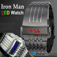 Wholesale NEW Fashion Luxury watches Iron Man watch China watches LED Stainless Steel Watch for Mens