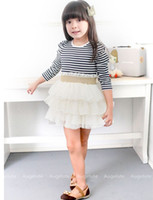 Wholesale Child Outwear Stripe Knitted Long Sleeve Patched Layered Gauze Lace Pleated Dress Girls TUTU Dresses Fashion Tiered Yarn Dressy D0844