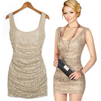 Wholesale 2013 Women Sexy Lace Folds Slim Fit Sleeveless Mini Cocktail Vest Bodycon Dress