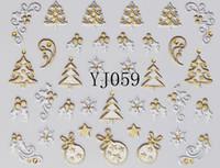 Wholesale Free Ship Designs Christmas Nail Art Stickers D Gold amp Silver Metal Snowflake Christmas Tree Dropshipping Retail SKU XB0527