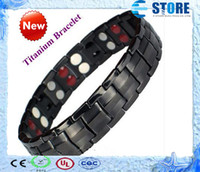 Wholesale Titanium Bracelet with Magnet Stone or Germanium White Ion and FIR stone in far infrared Pure Titanium magnetic bracelet Drop Shipping