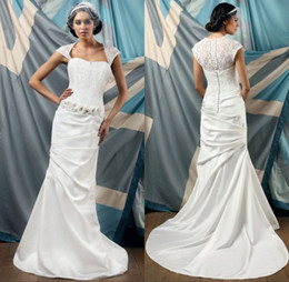Wholesale Exquisite best selling mermaid beaded applique with cap sleeve sweetheart white satin elegant lace church wedding dresses
