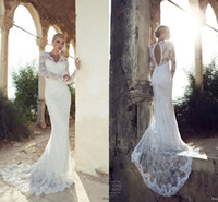 Stunning 2014 Vintage Garden Sheath wedding dresses With Lon...