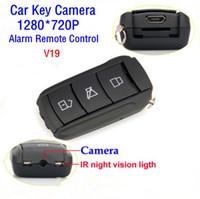 al por mayor el coche teledirigido de espionaje-El más nuevo V19 Spy Car Keys coche llavero 720P H.264 Ultra High-Definition alarma antirrobo Cámara Remota Control de la llave del coche del espía