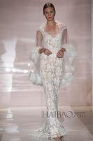dresses new york - Sexy Mermaid Wedding Bridal Gown Dresses Sleeveless Lace Sweep Train New York Bridal Fashion Week Reem Acra dhyz