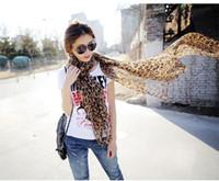 Vente en gros coréenne Super longue mousseline de soie écharpes chaud châle léopard écharpe écharpe 2014 pour les femmes 50pcs beaucoup