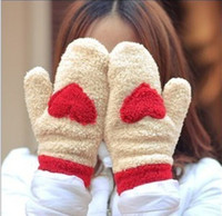 Wholesale Winter thermal thickening plush gloves of love female thermal full finger gloves sweet mittens and gloves