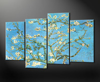 More Panel Oil Painting Abstract Framed 4 Panel Large Van Gogh Oil Painting Almond Branches in Bloom Canvas Art Interior Decoration Flower Wall Picture XD01813