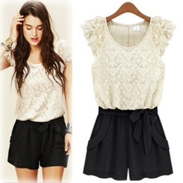 Wholesale summer wear the new European splicing jumpsuits collar short sleeve lace jumpsuit